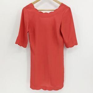 ASOS Orange Scallop Hem V-Back Pencil Dress 2